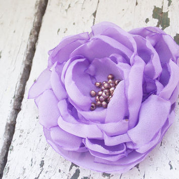 Lavender fabric flower brooch whisteria floral pin peony handmade corsage women fashion summer europeanstreetteam