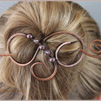Copper Hair Clip with Purple Pearls and Crystals, Hair Slide, Hair Barrette, Hair Pin, Copper Wire Bun Holder, Antiqued, Copper Swirls