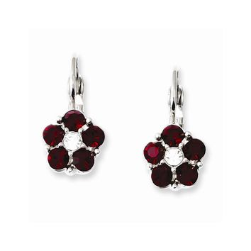 Silver-tone Red and Clear Crystal Flower Shaped Leverback Earrings