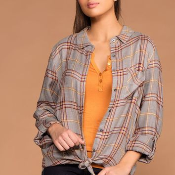 Easy Going Gray Button Up Tie-Front Plaid Top