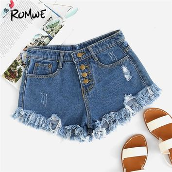 ROMWE Blue Distressed Fray Hem Denim Shorts 2018 Spring New Ripped Raw Hem Mid Waist Shorts Women Button Fly Denim Plain Shorts