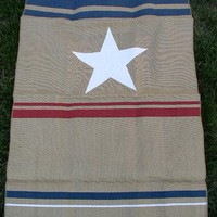 New Pottery Barn Fourth of July Burlap Hanging Flag Banner Curtain