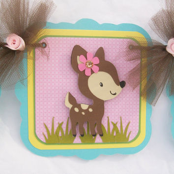 Woodland animals baby shower or birthday banner, photo prop,