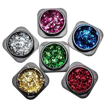 1 Box Aluminum Foils Flakes Nail Glitter Mirror Powders Colorful Irregular Nail Art Dust Manicure Sequins Chrome Pigment SF3008