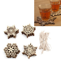 10 Pcs Wood Snowflake Embellishments Rustic Christmas Decorations For Home Xmas Tree Hanging Ornament Navidad Decor