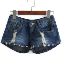Navy American Flag Print Distress Denim Shorts