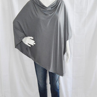 Steel Grey Nursing Poncho/ Lightweight Nursing Cover/ Nursing Shawl/ One shoulder Boho Top/ Lightweight Wrap/ New Mom Gift