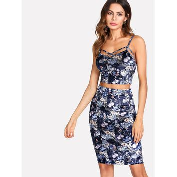 Tropical Print Velvet Cami & Skirt Set