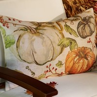 Painted Pumpkin Patch Outdoor Lumbar Pillow