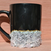 REAL Gemstone Crystal Mug / Amethyst & Rose Quartz Crystal /12oz  Druzy Geode Mug Coffee Mug - Gem Mug Healing Crystal Cup Birthstone Gift