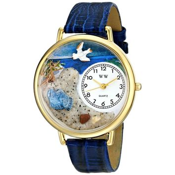 SheilaShrubs.com: Unisex Footprints Royal Blue Leather Watch G-0710013 by Whimsical Watches: Watches