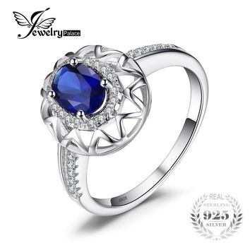 JewelryPalace Unique Fine 1.2 ct Created Blue Sapphire Ring 925 Sterling Silver Fashion Women Jewelry 2017 Brand Rings For Women
