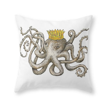 Society6 Scribbled Octopu Throw Pillow