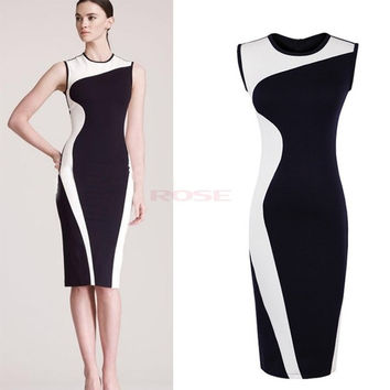 Women Sleeveless O-Neck Color Block Tunic Pencil Stretch Bodycon Sexy Dress 19758 Vestidos = 5613062337