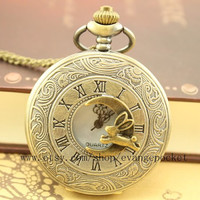 antique rabbit pocket watch Alice in Wonderland jewelry men's necklace Wedding Gift steampunk style bronze