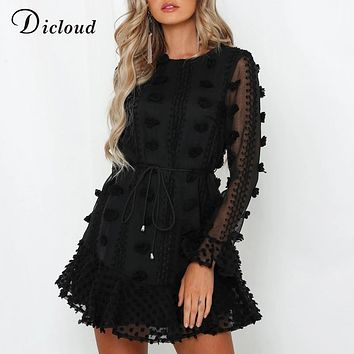 DICLOUD Sexy Pom Poms Women Black White Party Dresses 2019 Autumn Winter Long Sleeve Boho A Line Ruffle Dress With Waist Tie