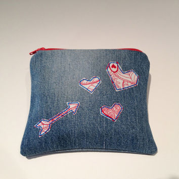 Zippered Arrow and Hearts Denim Coin Purse - Valentines Day