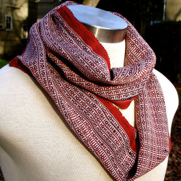 Infinity fashion spring scarf. Hand woven red black and white material from womens Thai weavers collective. Made in Eugene OR!