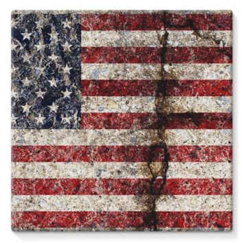 Rustic Cracked Concrete American Flag Stretched Canvas