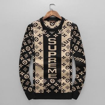 Supreme Tide brand autumn new LOGO men's round neck sweater