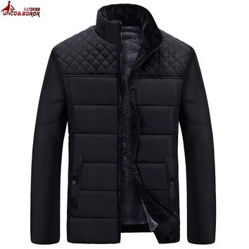 UNCO&BOROR Brand Men's Jackets and Coats Patchwork plaid Designer fleece Jackets Men Outerwear Winter Fashion Male Clothing