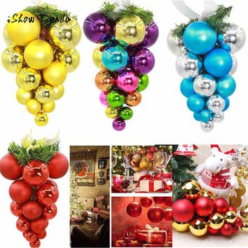 2018 Christmas Gift 20 Balls Wreath Door Wall Ornament Garland Pendant Addobbi Natalizi Christmas Decorations for Home