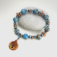 Tree of Life charm bracelet of blue crazy lace agate gemstones, copper and glass pearls on stretch cord
