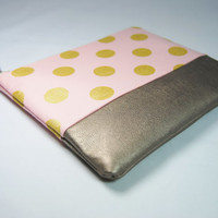 Gold polka dot and blush / peach / pink zipper pouch, makeup case, cosmetic bag, wallet, clutch genuine leather