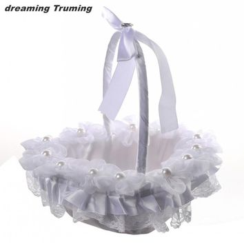 Vintage Lace Wedding Flower Girl Basket with Satin Ribbons Bow Pearls Ceremony Wedding Decoration Bridal Container Supplies