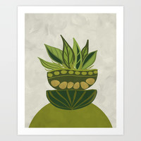 Still life Green plants Art Print by vivigonzalezart