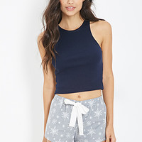 FOREVER 21 Snowflake Print Flannel PJ Shorts Grey/White
