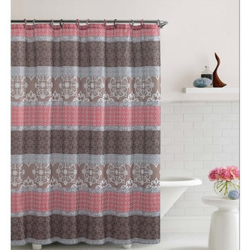 "Shower Curtain- Sonata Brown/ Coral Embossed Microfiber- 72""X 72"""
