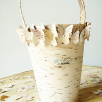 Flower Girl Basket Birch Bark Butterfly Rustic by jadenrainspired