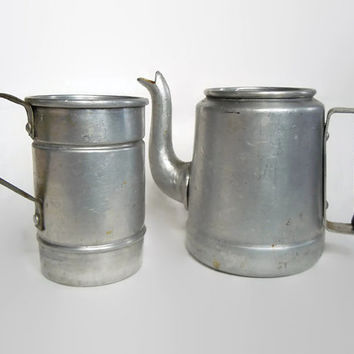 Vintage Aluminum Teapot and Tea Strainer | Personal Tea Kettle Set | Made in Bolivia by Fana Al | Unique Gift for Tea Lover | Retro