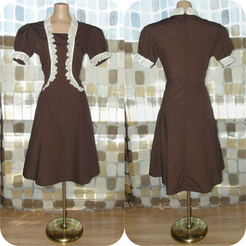Vintage 60s Retro Waitress Uniform Dress Brown with Cream Lace Ruffles A-line 10 M/L