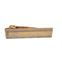 Vintage Tie Clip, Gold Tone, Retro 1970s 70s, Mens Formal, Wedding Jewelry, Best Man Groom Gift, Gift for Him