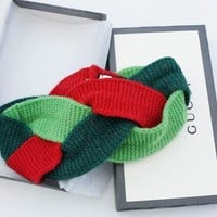 Gucci Fahion Women Yoga Motion Headband Hair Hoop Contrast Green Red