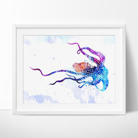 Octopus Watercolor Print, Octopus Art Print, Watercolor Art, Animal Watercolor, Octopus Home Decor Wall Art, Octopus Painting Print  - 06