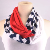 Chevron Infinity Scarf Zig Zag Stripe Red Navy Texans Patriots Rangers Giants Infinity scarf Loop Circle jersey