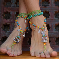 Fierce DRAGON BAREFOOT sandals Green Anklets crochet by GPyoga