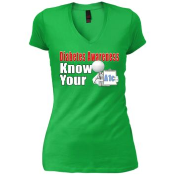 Diabetes Awareness Know Your A1c Junior Vintage Wash V-neck Tee