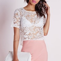 BAROQUE ORGANZA LACE SHELL TOP WHITE