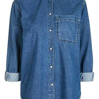 MOTO Denim Oversized Shirt - Denim - Clothing