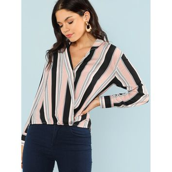 Striped Dip Hem Blouse