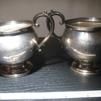 1940's or 1950's Fisher Sterling Silver Creamer and Sugar Bowl Set Fisher No. 704