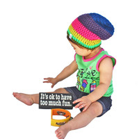 Colorful Striped Crochet Slouch Baby Beanie Size 0-8 Years