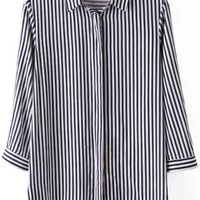 Navy White Lapel Vertical Stripe Blouse - Sheinside.com