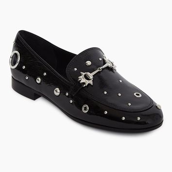 Carly Studded Slip On Loafers - Ebony Black