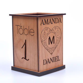 Personalized Wedding Candle Holders - Wood Table Decorations - Interchangeable Tealight Holder by Tri-Elegance