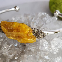Raw Amber Cuff Bracelet | Mineral Cuff | Gemstone Bangle | Crystal Jewelry | Silver Pyrite Bracelet | Birthstone Jewelry |